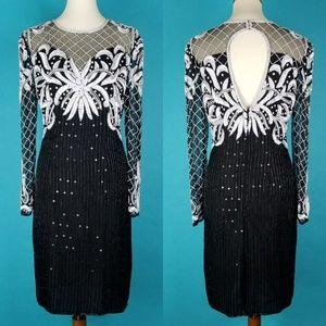 Vintage Sequin Dress Beaded Silk Black White